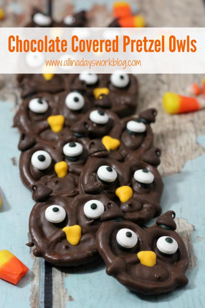 Chocolate Covered Pretzel Owls -
