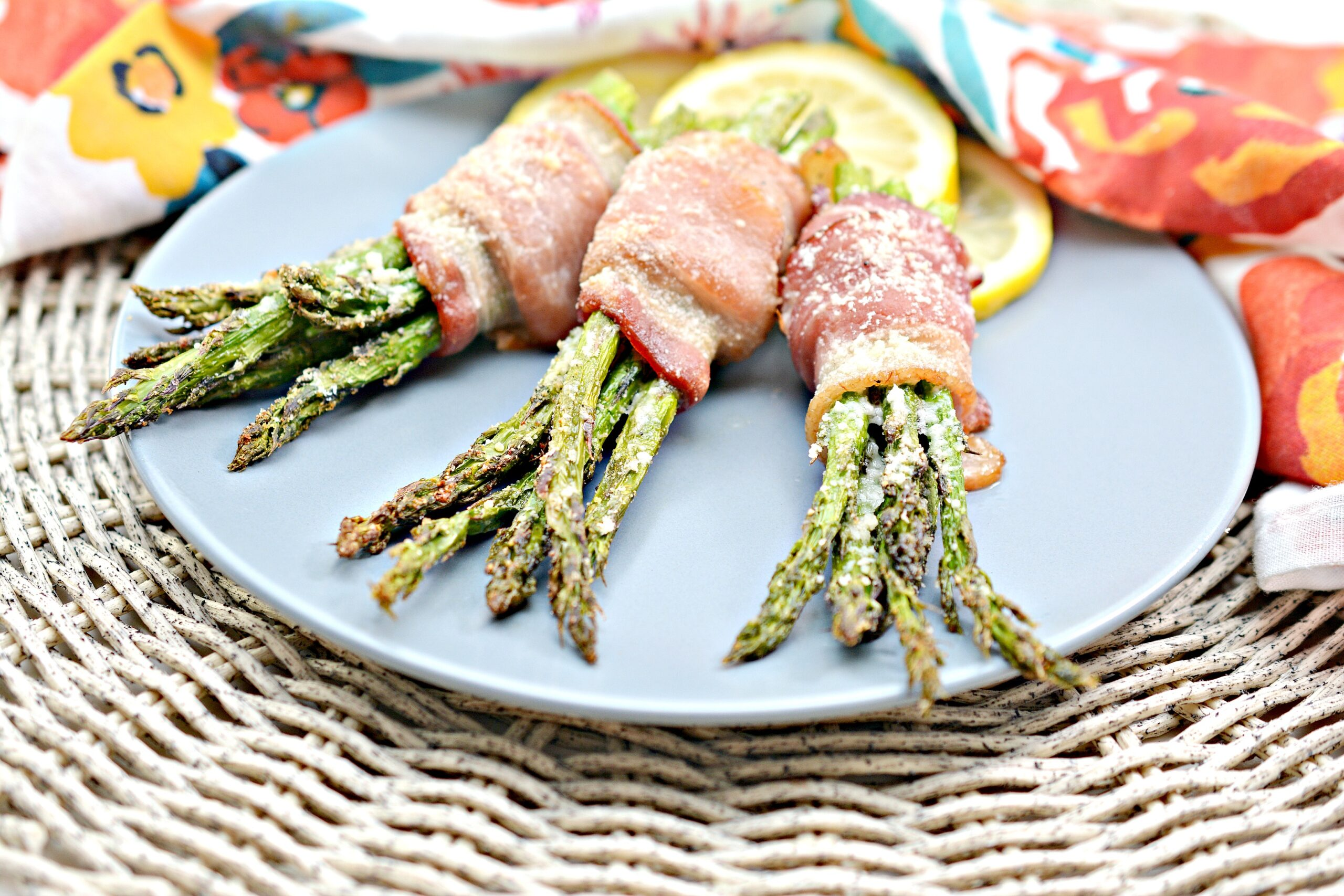 keto air fryer bacon wrapped asparagus